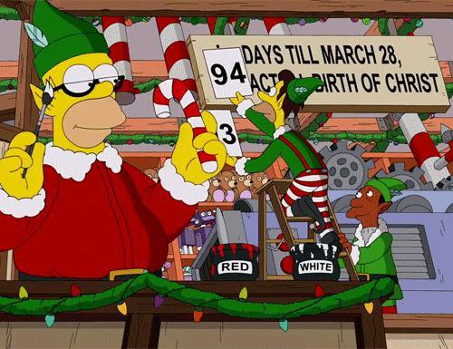 Homer Simpson in versione elfo di Natale è responsabile dei bastoni di zucchero