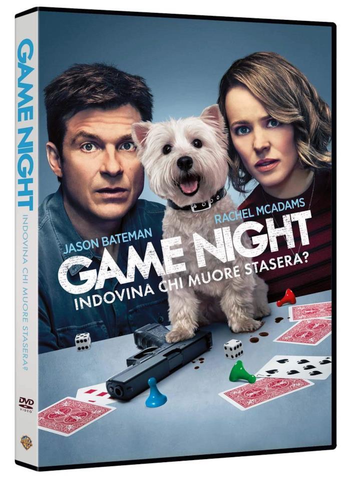Jason Bateman, Rachel McAdams e il cane nella cover del DVD di Game Night - Indovina Chi Muore Stasera?