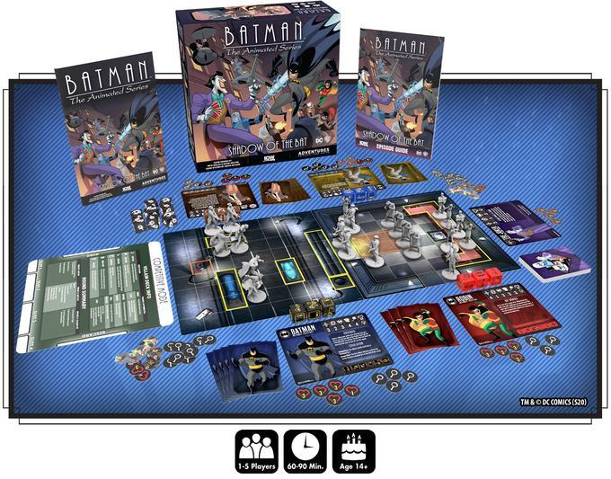 Il contenuto della scatola base di Batman: The Animated Series Adventures