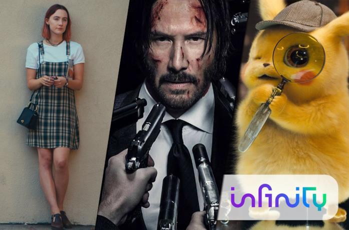 Da sinistra: poster promozionali di Lady Bird, John Wick 2 e Detective Pikachu