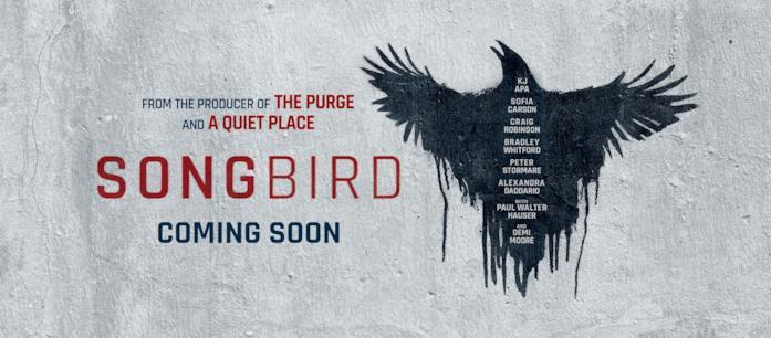 Songbird, il banner pubblicitario con un uccello nero