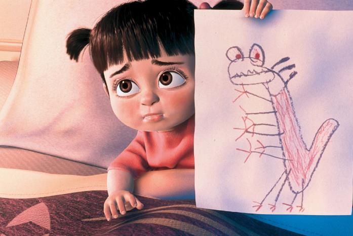 Boo triste con un disegno del mostro che la spaventa di notte