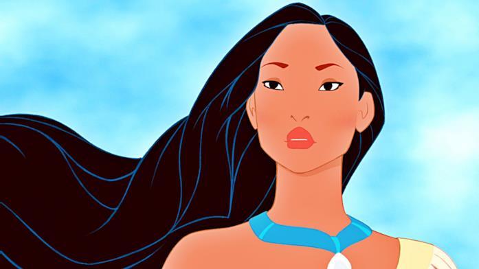 Un mezzo primo piano di Pocahontas, protagonista dell'omonimo film d'animazione