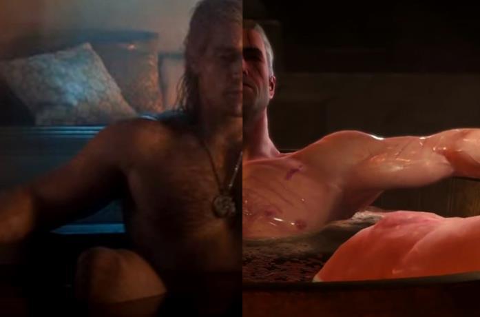 Geralt fa il bagno nella serie Netflix