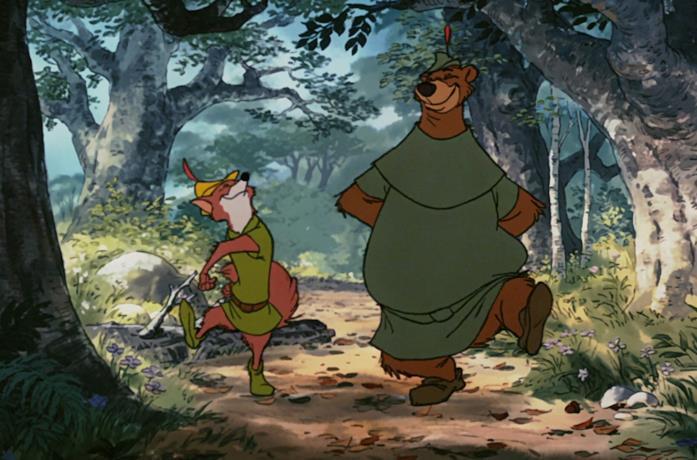 Robin Hood e Little John in una scena iniziale del cartone animato