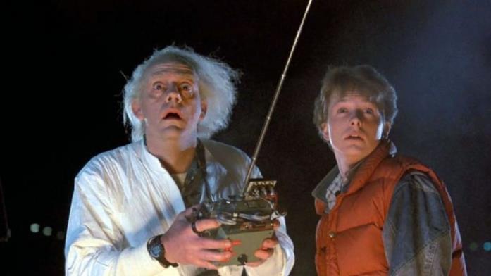 Doc e Marty in una scena di Ritorno al Futuro