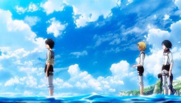 Attacco dei Giganti Eren Mikasa Armin mare