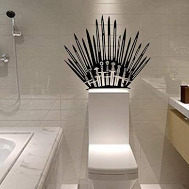 Ohpa Game of Thrones Toilet Basin Bagno Iron Throne Spade Art Vinyl Wall Sticker Adesivi e murali da Parete Carta da Parati Decorazioni