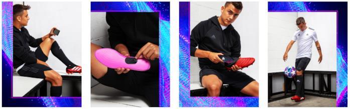 Dybala, giocatore della Juventus, mostra come utilizzare il dispositivo Adidas GMR
