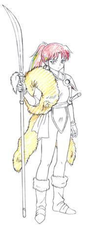 Setsuna indossa un mokomoko, segno nobile del clan degli Inuzaka