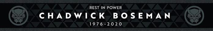 """La scritta bianca su sfondo nero """"Rest In Power"""" dedicata a Boseman"""