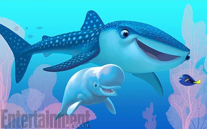 Lo squalo balena Destiny e il beluga Bailey in Alla Ricerca di Dory