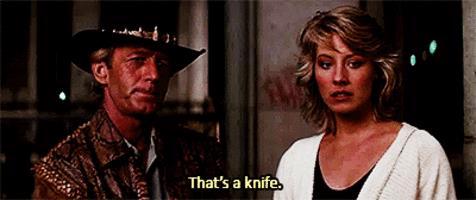 Crocodile Dundee, GIF scena coltello
