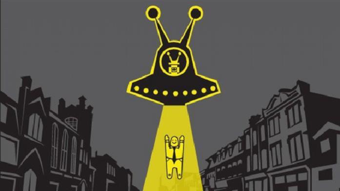 Un poster che raffigura un rapimento alieno