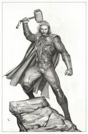 Thor in piedi su una roccia, mentre brandisce il martello