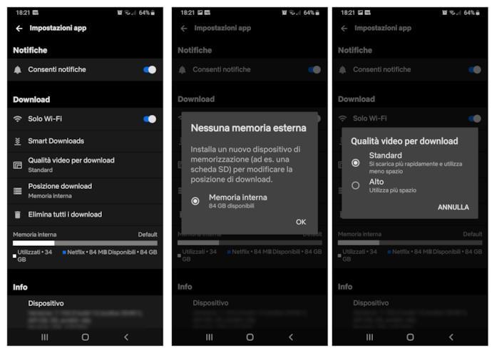 Le impostazioni interne dell'app di Netflix per Android per il download dei contenuti