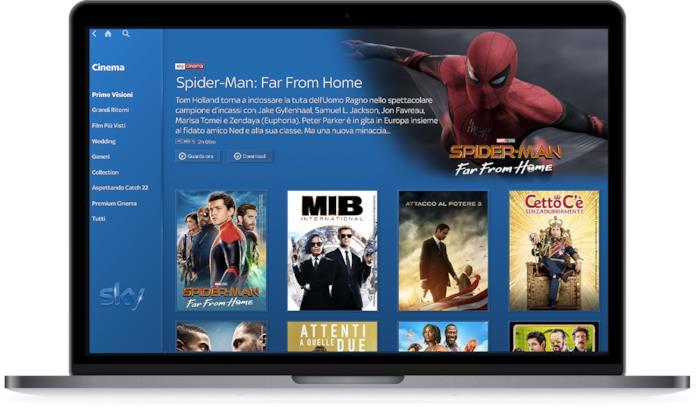 La sezione Cinema di Sky Go su un MacBook