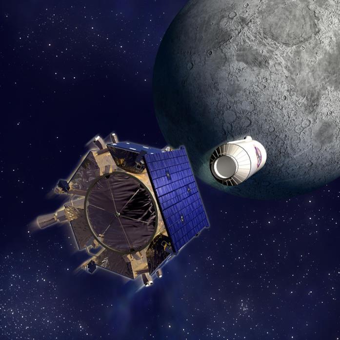 Una ricostruzione della sonda Lunar Crater Observation and Sensing Satellite