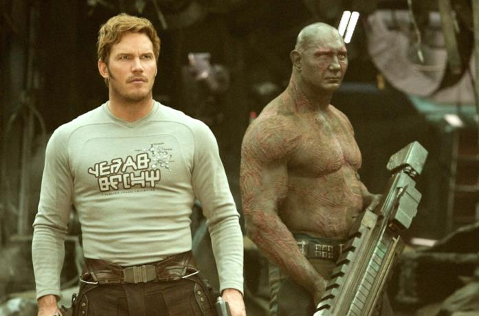 Chris Pratt e Dave Bautista in Guardiani della Galassia Vol. 2