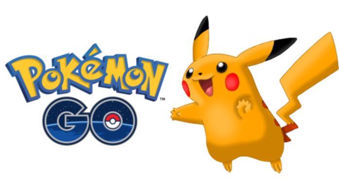 Uno Shiny Pikachu con il logo di Pokémon GO