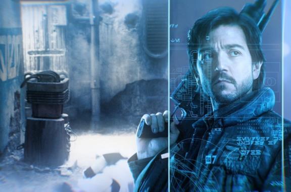 Cassian Andor su sfondo blu trasparente che impugna un'arma