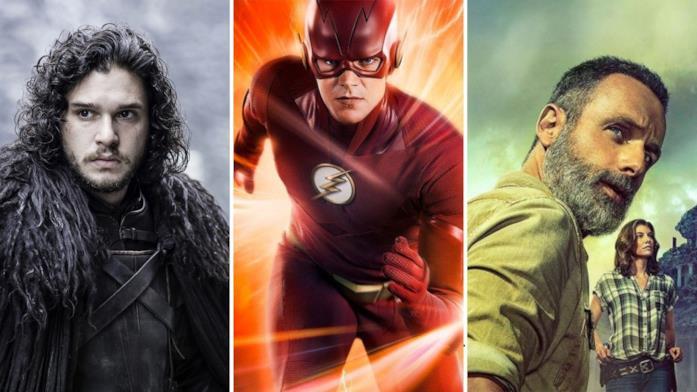 Da sinistra a destra le immagini con i protagonisti delle serie TV Il Trono di Spade, The Flash e The Walking Dead