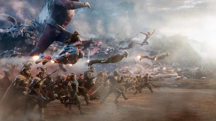Un'immagine della battaglia finale di Avengers: Endgame