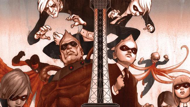 I protagonisti del graphic novel Umbrella Academy in posa con i costumi