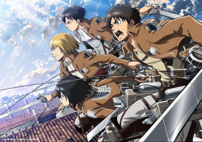 Attacco dei Giganti Eren, Mikasa, Levi e Armin