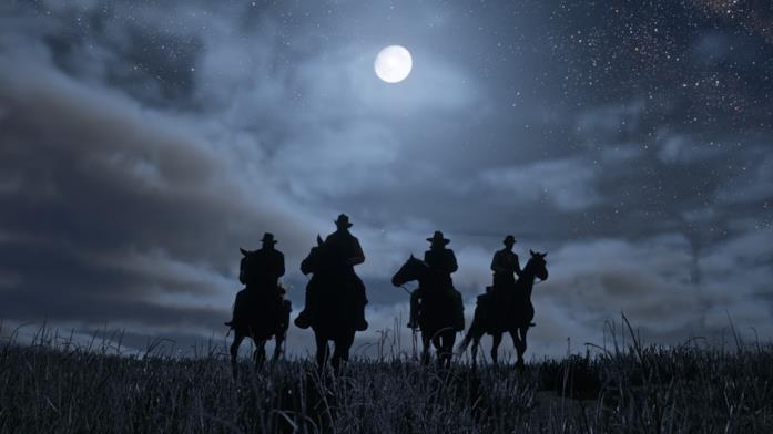 I protagonisti di Red Dead Redemption 2 cavalcano al chiaro di luna