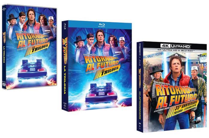 Un'immagine dei pack della trilogia di Ritorno al Futuro in Home Video