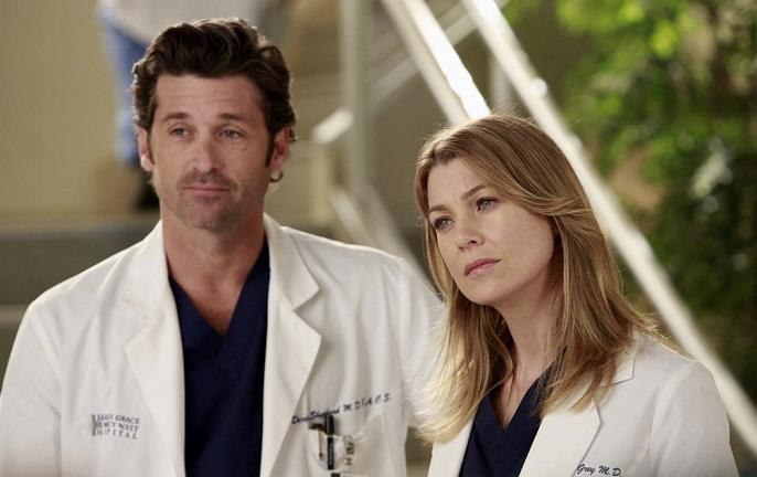 Meredith e Derek in camice