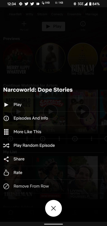 La funzione shuffle nell'app di Netflix su Android