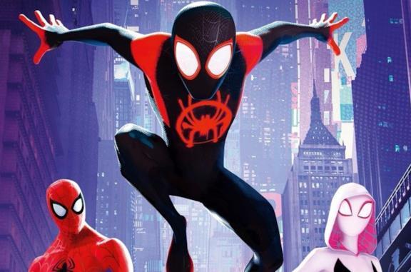 Miles Morales, Peter Parker e Gwen Stacy nel poster di Spider-Man: Un Nuovo Universo