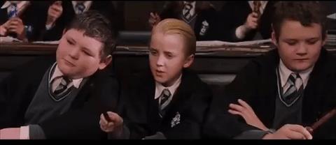 Malfoy durante una lezione di magia
