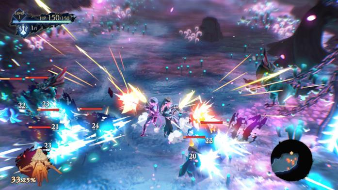 Una scena di battaglia dal gameplay di Oninaki