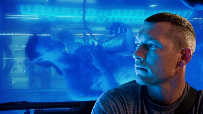 Sam Worthington nel film Avatar