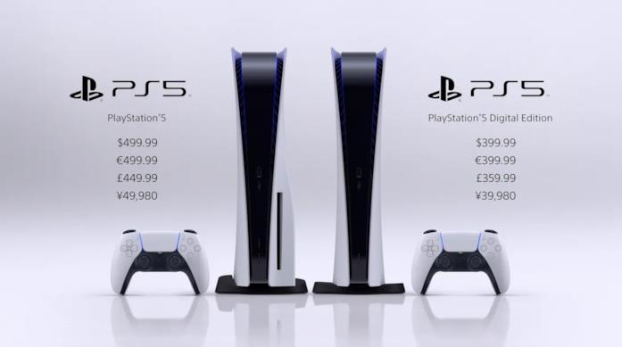 A sinistra PlayStation 5, a destra PlayStation 5 Digital Edition