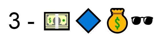 Emoji soldi smeraldo blu soldi occhiali