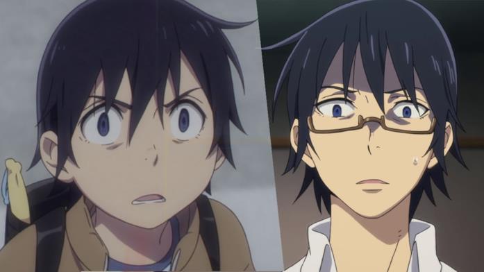 Erased Satoru adulto e bambino