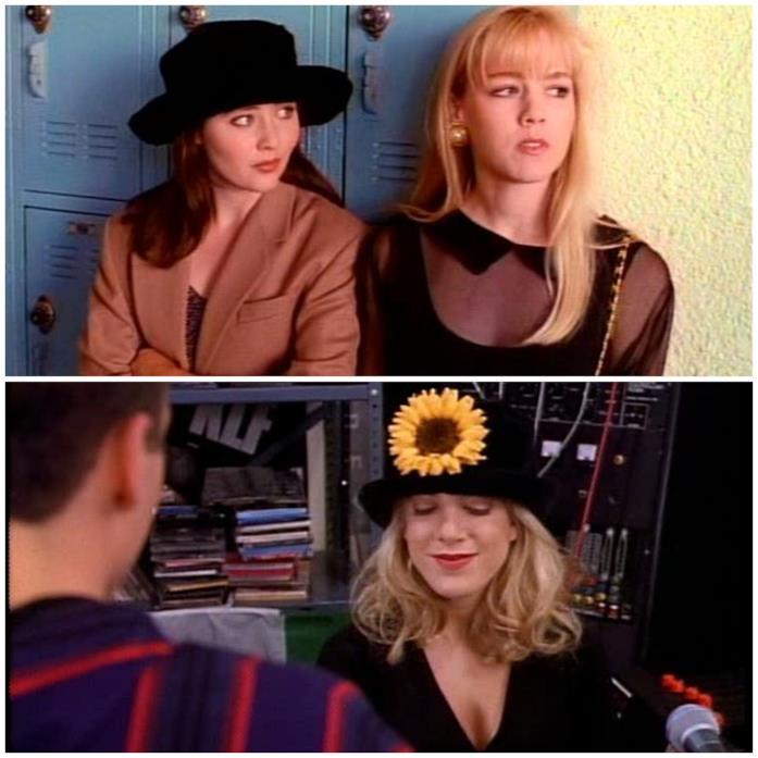 Brenda e Donna indossano dei cappelli in Beverly Hills 90210