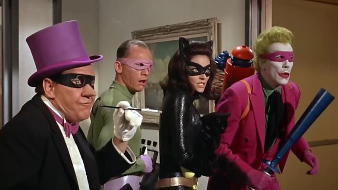 Pinguino, Enigmista,Catwoman e Joker nel film Batman del 1966