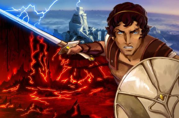 Il protagonista di Blood of Zeus con spada e scudo