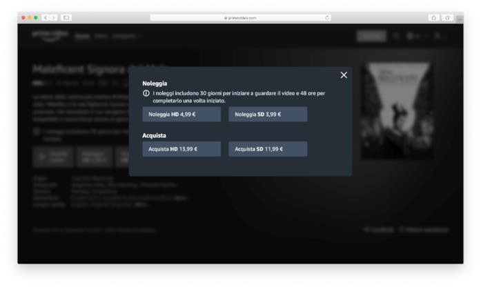 Le opzioni per noleggiare o acquistare Maleficent Signora del Male su Amazon Prime Video Store