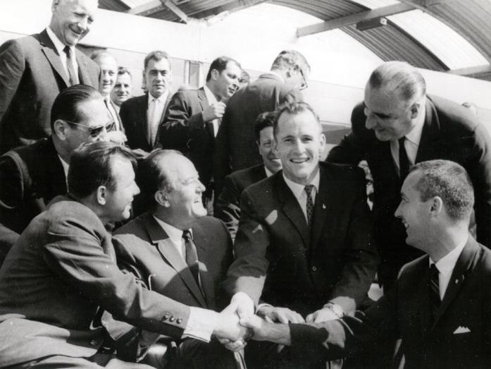 Yuri Gagarin con i cosmonauti USA Edward H. White II e James A. McDivitt