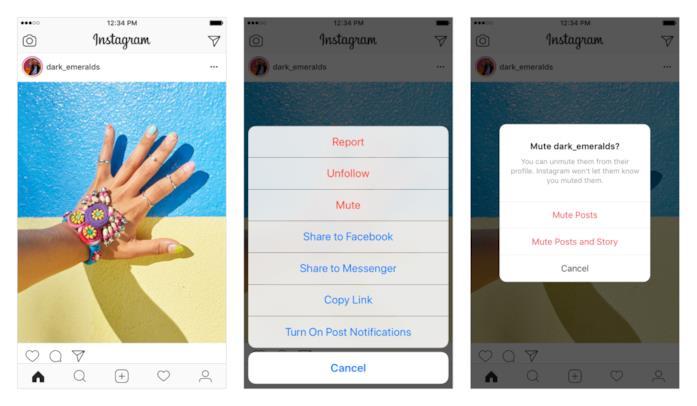 Dettagli su come attivare il tasto Mute dal News Feed del proprio profilo Instagram