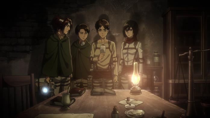 Eren, Levi, Hange e Mikasa osservano la foto di Grisha