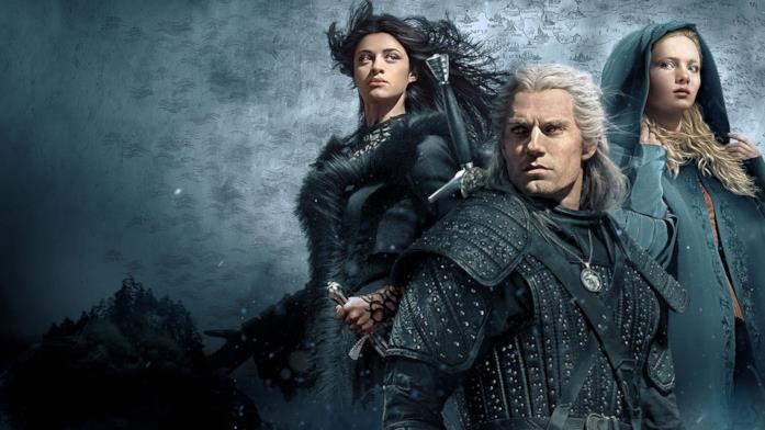 Anya Chalotra, Henry Cavill e Freya Allan nel poster di The Witcher