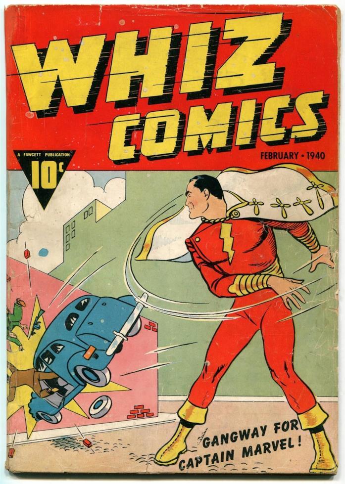 Copertina del #2 di Whiz comics, datata Febbraio 1940
