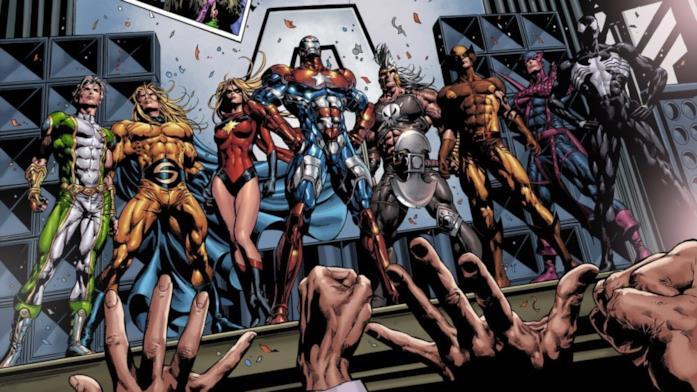 I Dark Avengers nei fumetti (da sinistra a destra): Noh-Varr, Sentry, Capitan Marvel, Iron Patriot, Ares, Wolverine, Occhio di Falco, Venom